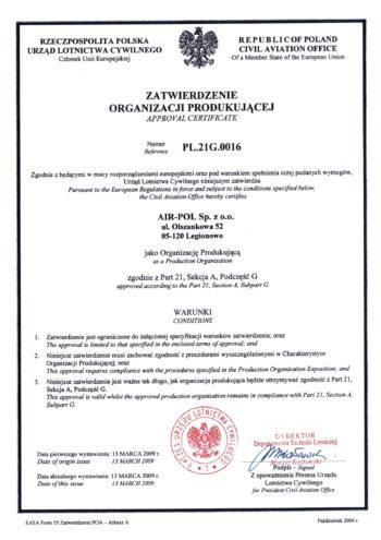 Certyfikat w zakresie produkcji Part 21 G