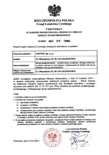 Certyfikat w zakresie projektowania produkcji i obslugi sp. spadochronowego