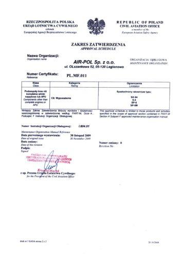 Specyfikacja certyfikatu w zakresie obslugi MF